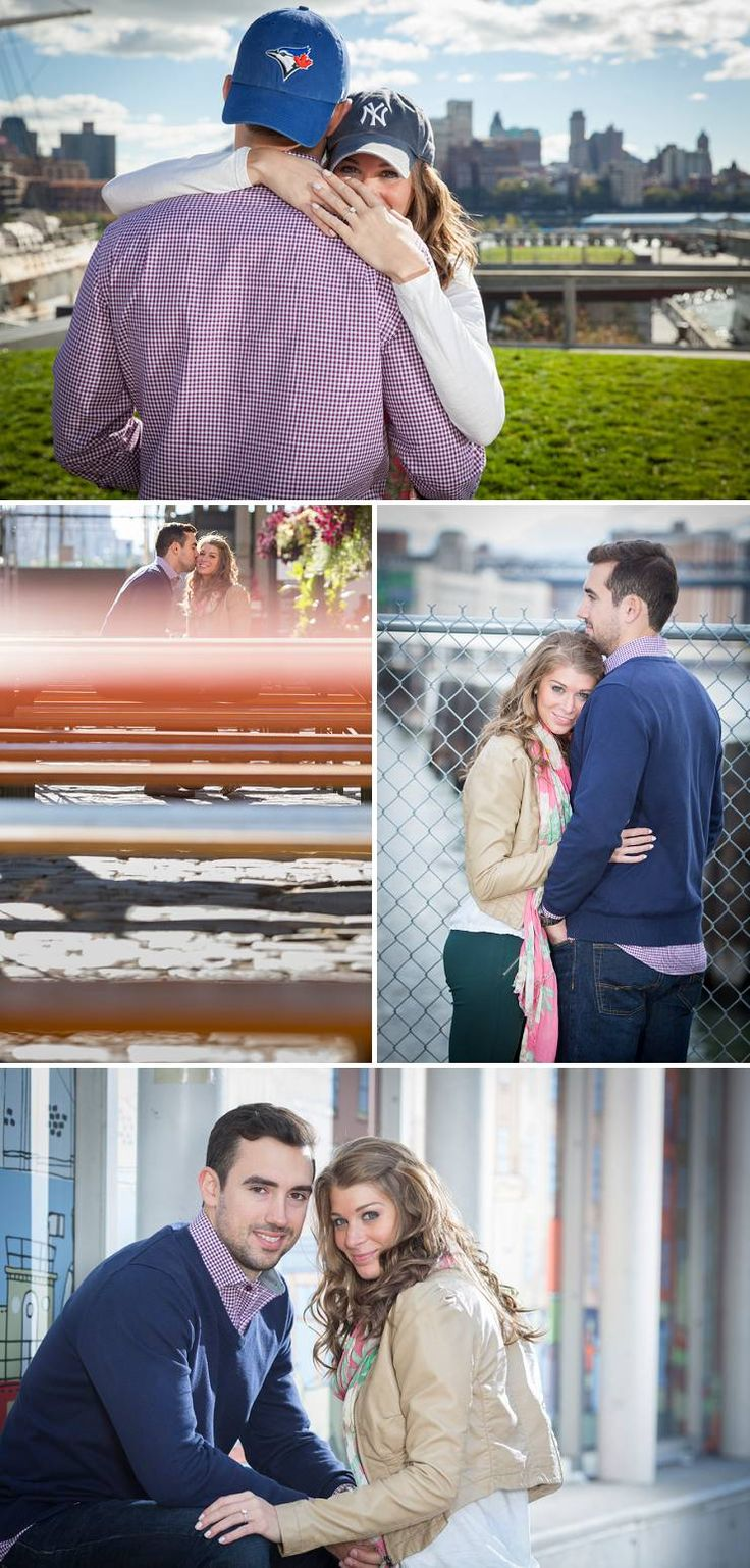 Love how the couple incorporate their little baseball rivalry in their engagement photos!  South Street Seaport Engagement Session in NYC • Bummed Bride