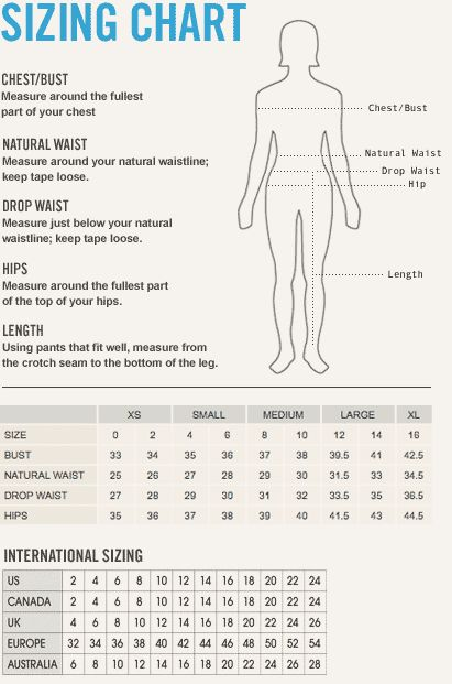 Sizing chart for women dresses