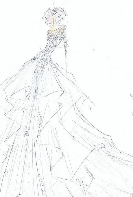 Wedding dress sketch for Savannah Guthrie | Jim Hjelm | brides.com