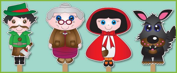 Red Riding Hood Stick Puppets...A set of beautiful 'Little Red Riding Hood' illustrations, ideal to cut out and use as visual aid stick puppets. Includes an illustration of Little Red Riding Hood, grandma, the wolf and the wood cutter.