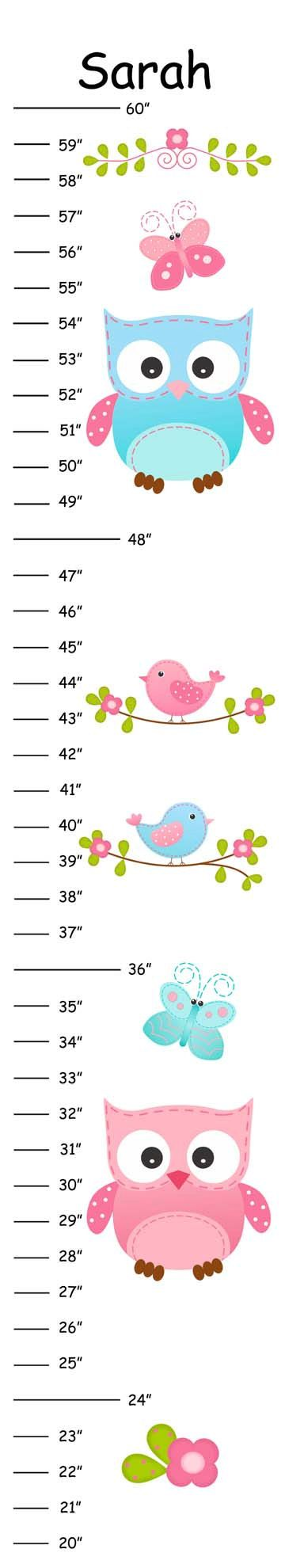 Personalized Pink & Blue Owls and Birds Canvas Growth Chart