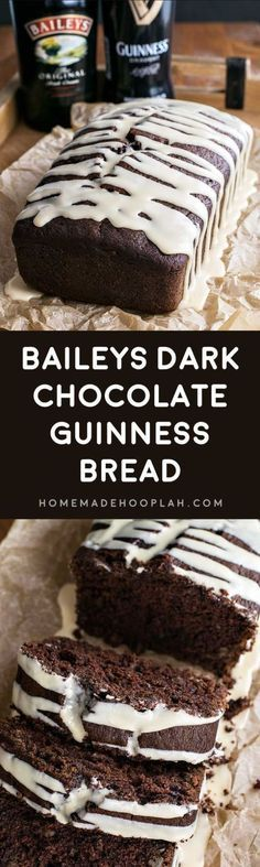Baileys Dark Chocolate Guinness Bread Recipe via Homemade Hooplah - Rich and dark chocolate Guinness bread laced with chocolate chips and walnuts then frosted with a sweet Baileys glaze.