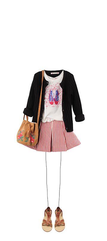 Bonpoint Summer 2015: Cardigan Black Silkscreen printed T-shirt Offwhite Antonia skirt Red Bucket drawstring bag Nutmeg Navplia sandals Natural