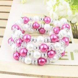 Rose rouge + blanc perle bracelet coutures