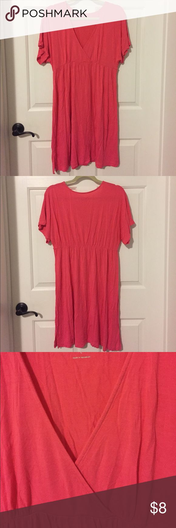 Nicole Miller swim cover up dress bright pink L Nicole Miller New York swim cover up dress with wrap style v-neck, bright pink, size L. Worn a few times and in great condition. 96% rayon, 4% spandex. Nicole Miller Swim Coverups