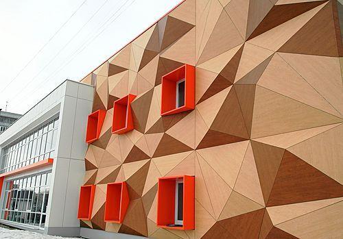 "A three dimensional facade at the ""Navigator campus"" in Kazan"