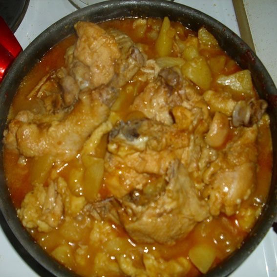 Serbian domestic chicken stew can be prepared and served weekly as very tasty main meal (lunch) always followed by many kinds of salads as an contribution.