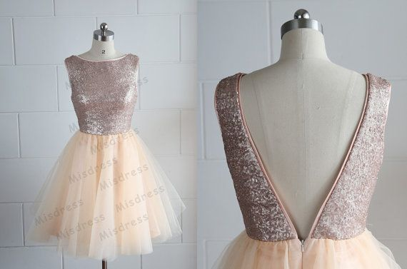Champagne Gold Sequins Tulle Dress Bridesmaid by misdress on Etsy, $89.00