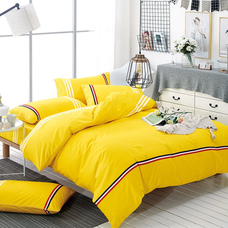 Cheap home textile, Buy Quality duvet cover set directly from China bedding set Suppliers: Brief Style Bedding Sets 100% Polyester Duvet Cover Set Yellow Color Bedclothes Bed Linen Soft Home Textile XF216