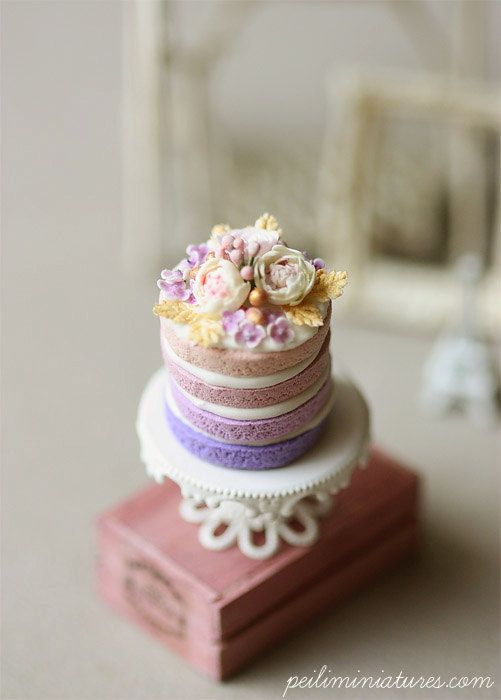 Dollhouse Miniature Food Purple Ombre by miniaturepatisserie
