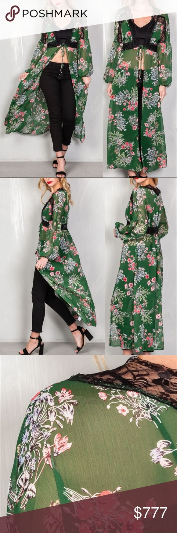 "'FLORAL VIBES' SHEER KIMONO / DUSTER WE ARE AN ONLINE BOUTIQUE ALL ITEMS ARE BRAND NEW PRICING IS FIRM  This beautiful green sheer chiffon Kimono / duster features: longline silhouette, lace trim around neckline, waist lace detail, all over floral print,  long sleeves & front tie. You can wear over a dress, with a top & pants, or over your swimsuit!  Model is 5'9 and wearing a Small ( Waist 24"", Bust: 34B, Hips: 37"")  * Bikini cover up vacation cruise party hippy boho bohemian 70's Coachella…"