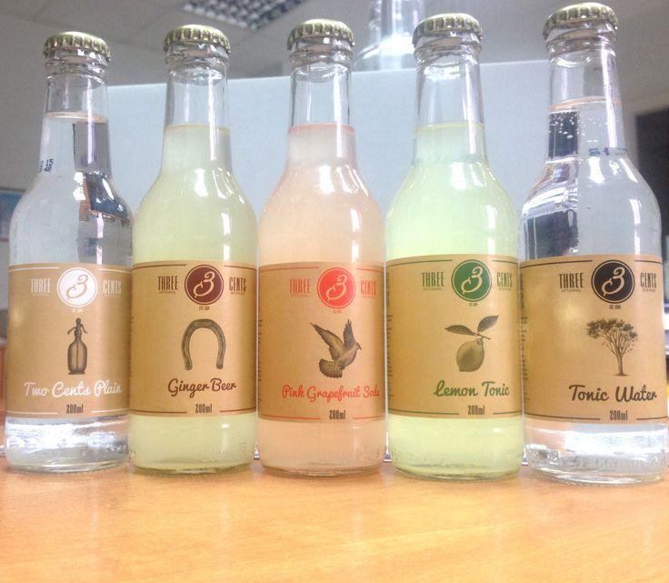 Three cents Premium Beverages, Three Cents Premium Beverages Grapefruit soda, Ginger Beer, Tonic , Soda, Lemon Tonic