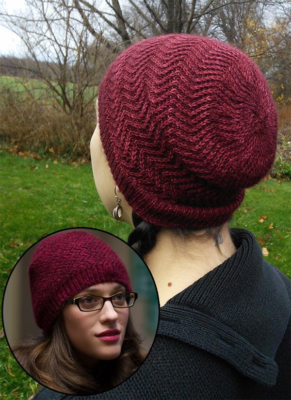 Free Knitting Pattern for Mjolnir Hat - The Mjolnir Hat is Raven Sherbo's recreation of the zigzag lace beanie that Darcy wears in Thor: The Dark World.