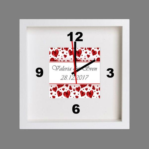 Uhren – Tischuhr lautlos Hochzeitsgeschenk Valentinstag – ein Designerstück von…