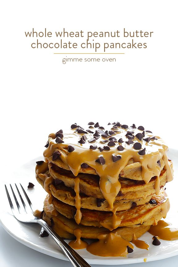 Whole Wheat Peanut Butter Chocolate Chip Pancakes  I think this needs to be made for my PB lover