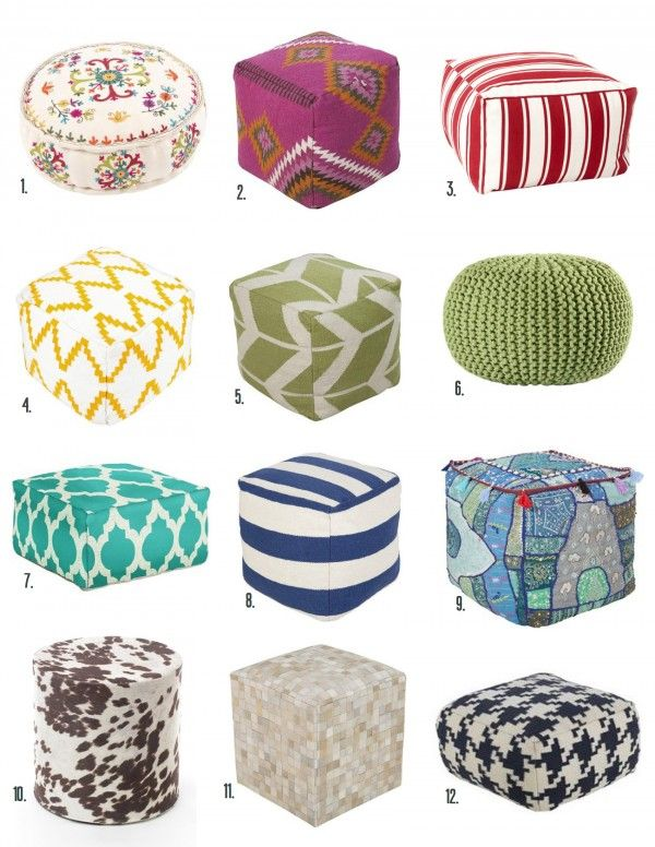 Looking for a way to add color and comfort to your space? Try a pouf! From My Home To Yours: Poufs! | BHG Style Spotters