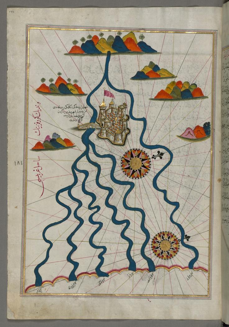 Illuminated Manuscript, Map of the city of Ferrara