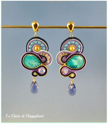Soutache earrings with mother of pearl , Swarovski and gold