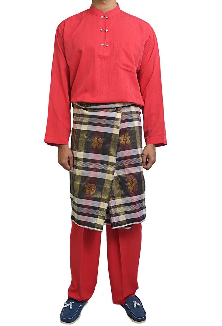 Damas Double Button Baju Melayu in Red | L's Solemnization | Pinterest ...