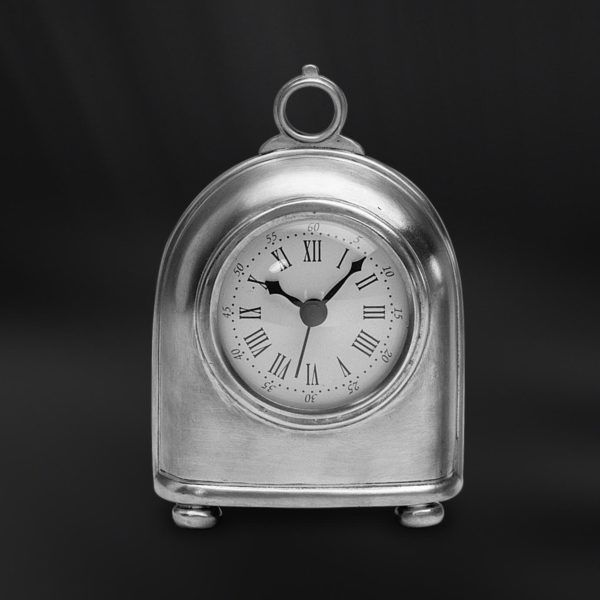 Pewter Clock - Width: 10,5 cm (4,1″) - Height: 15 cm (5,9″) - #pewter #clock #peltro #orologio #zinn #uhr #peltre #tinn #олово #оловянный #gifts #giftware #home #housewares #homewares #decor #design #bottega #peltro #GT #italian #handmade #made #italy #artisans #craftsmanship #craftsman #primitive #vintage #antique
