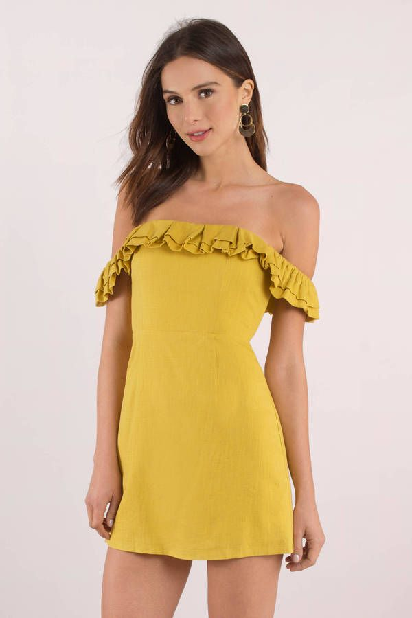 93f0d491646a Taylor Mustard Off Shoulder Dress  shoptobi  mustard  ruffle  dress   sundress  summer