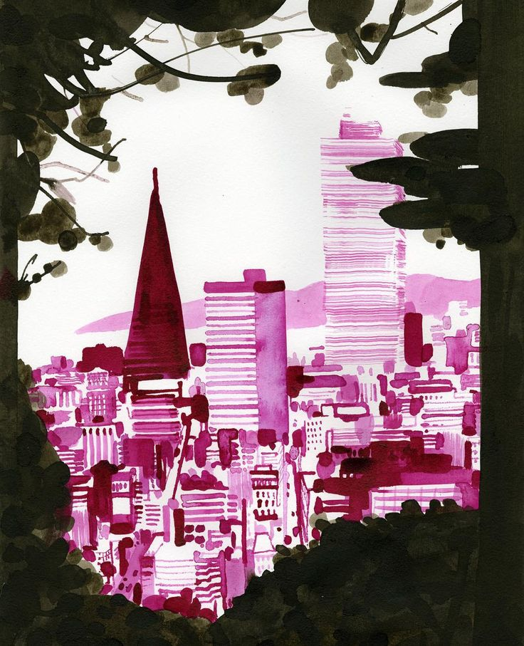 """Christoph Niemann   One of my favorite spots: San Francisco, seen from Buena Vista Park. """"Souvenir"""", a book of my landscape ink drawings will come out with @diogenesverlag this spring."""