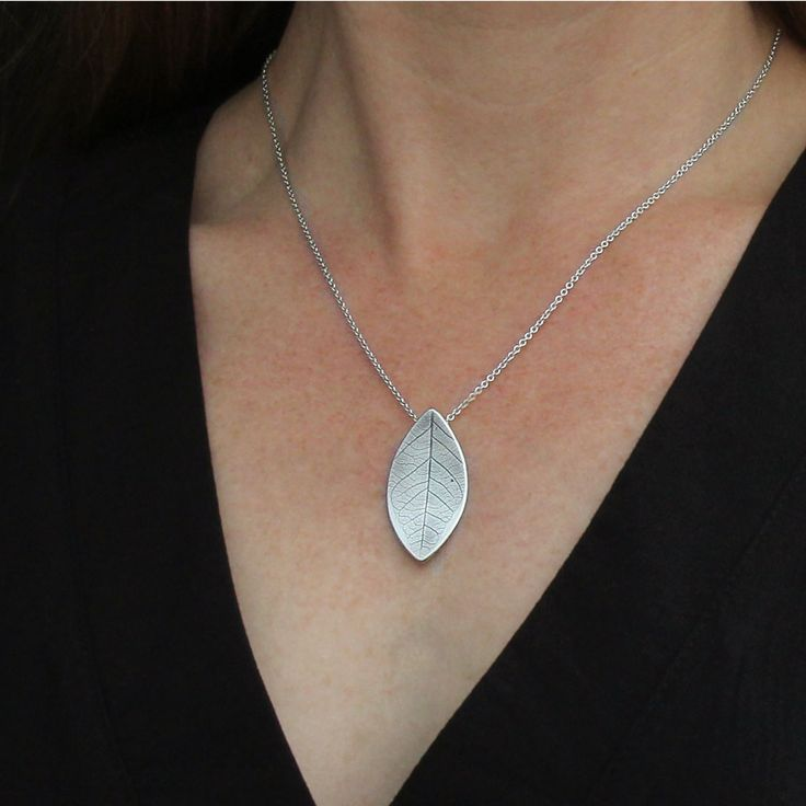 Amelia Sterling Silver Handcrafted Leaf Textured Pendant - Melanie Hay Jewellery