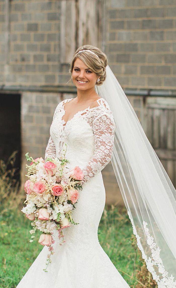 Brautfrisur Mit Langem Schleier In 2019 Hochzeit Hochzeit