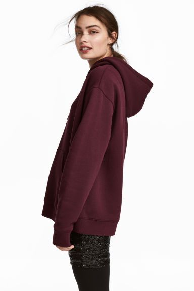 Bluza z kapturem - Śliwkowy - ONA   H&M PL 1