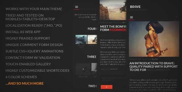 BRAVE - A dark, clean, fully re... Wordpress Theme | DOWNLOAD & REVIEW