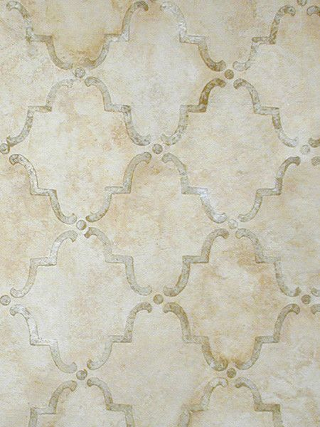 Moorish Trellis Wall Stencil Love this aged look!!!  It appears to be metal or enamel trellish with chalk paint over it in 2 colors!  :)  :)  :)