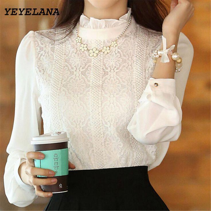 Cheap autumn women blouses, Buy Quality chiffon blouse directly from China long sleeve chiffon blouse Suppliers: YEYELANA 2017 New Spring Women Blouses Korean Style Elegant White Shirts Crochet Lace Long Sleeve Chiffon Blouses Clothing A009