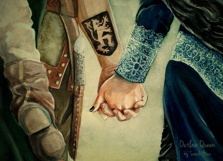 Outlaw Queen - Once Upon a Time Regina Mills and Robin Hood, Roland Hood, evil queen watercolour.