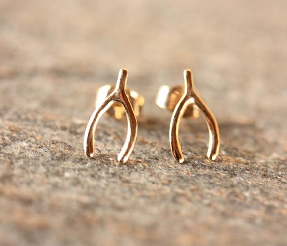 Gold Wishbone Studs