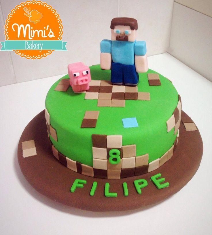 Bolo Decorado Minecraft   Fondant Minecfraft Cake