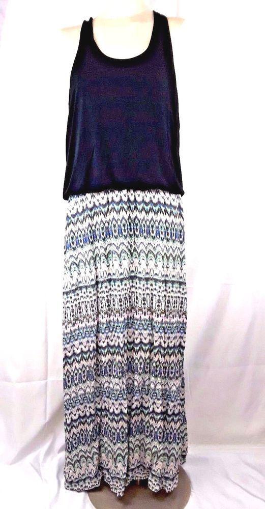 Victorias Secret Dress XL Maxi Navy Multi Color Geometric Blouson BOHO Racerback #VictoriasSecret #MaxiMaxiDress #Casual