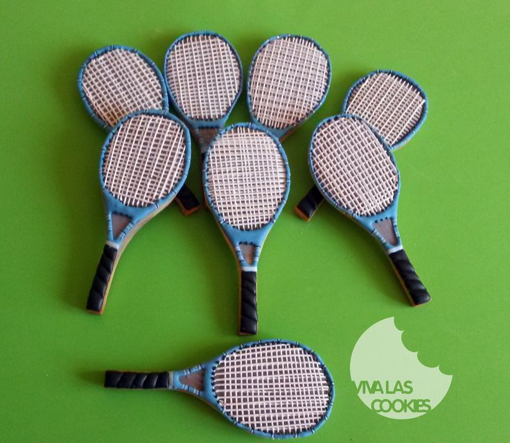 Tennis racket cookies. Galletas raqueta de tenis, by www.vivalascookies.com
