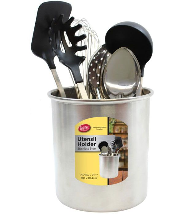 This Stainless Steel Utensil Holder is designed to keep over-sized cooking utensils stored right on the kitchen counter. #kitchen #food #foodlover #cookingtools #cooking #decluttering #kitchenorganization