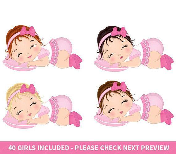 Baby Girl Clipart Vector Baby Clipart Baby Clipart Newborn Etsy