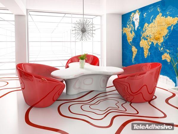 Fotomurales: Mapa Mundo #decoracion #deco #fotomural #vinilo #mapa #mapamundi #pared #TeleAdhesivo