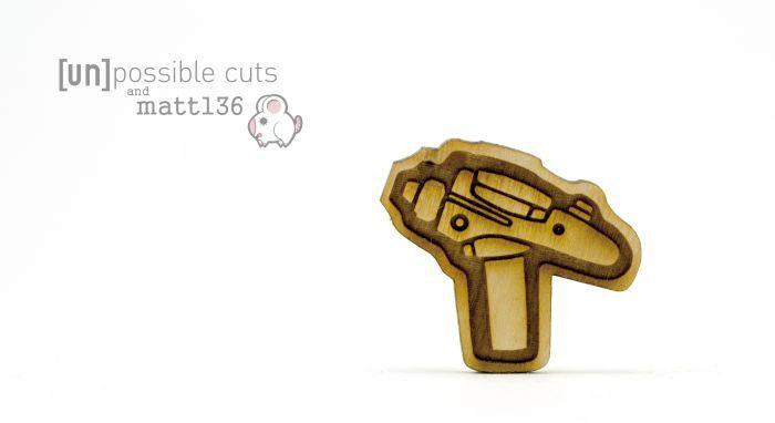 Phaser Pin Designed by Matt 136 - Handmade - Laser Cut Jewelry - Laser Cut