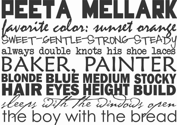 I'm going to geek out on y'all for a moment.  The Hunger Games Shirt Peeta Mellark the boy by DreamDesignShop, $22.00