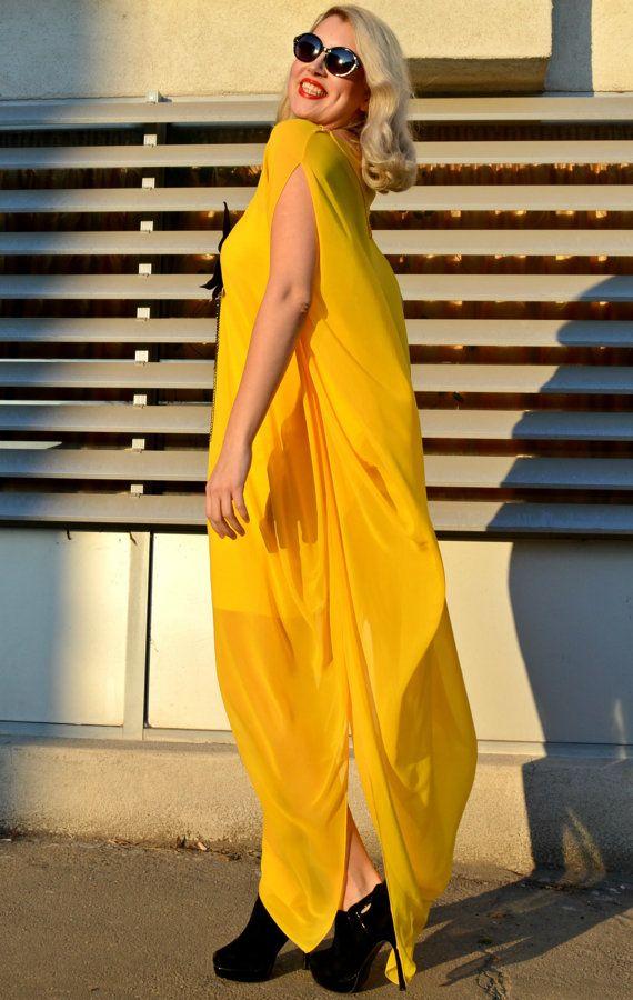 Extravagant Yellow Kaftan / Yellow Maxi Dress / by Teyxo on Etsy