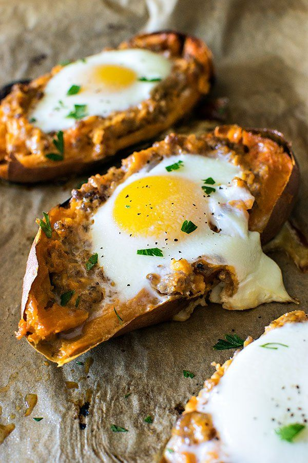 Have the taste of fall all year round! Flavorful breakfast sausage in twice baked sweet potatoes and topped with an over easy egg.