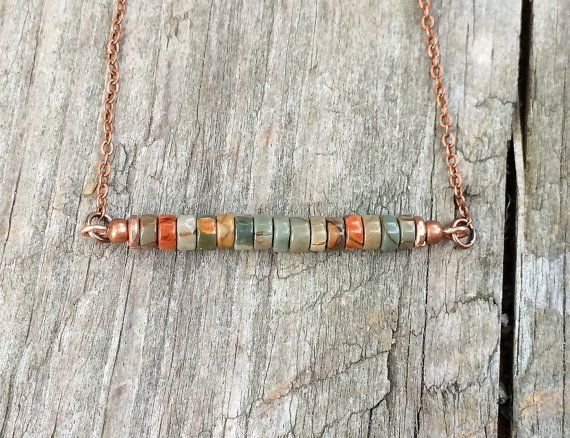 Colorful stone bar necklace minimalist jewelry boho