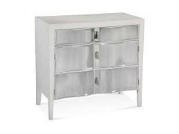 Bassett Mirror Barclay Hospitality Cabinet Make a bold statement with this unique Barclay Hospitality Cabinet. Featuring a stunning design and beautiful satin white finish color, this bar is ideal in any living or dining space. It has ample storage space for all of your cocktail glasses, wine bottles, and even paper umbrellas. Perfect for a transitional style home, this bar is sure to keep guests entertained all night long.
