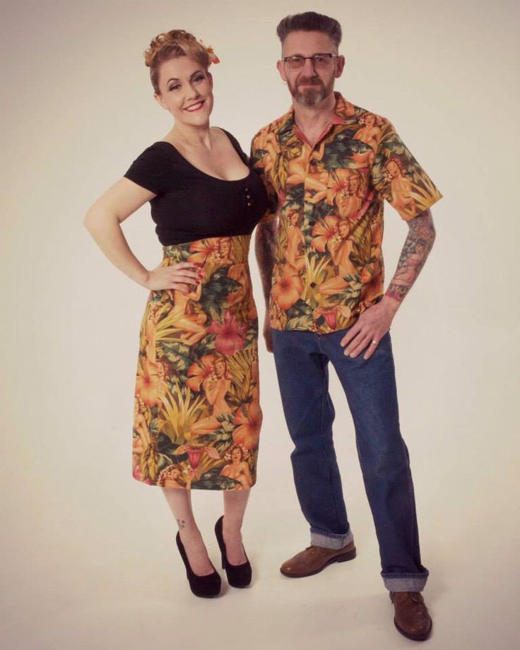 Men's bowling shirt and ladies high waisted pencil skirt both in pinup fabric made by me! www.ellyprizeman.com