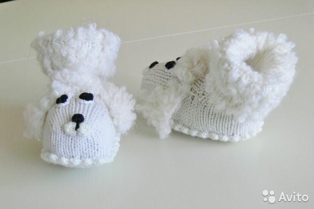 Новые вязаные пинетки для новорождённых Собачки— фотография №4