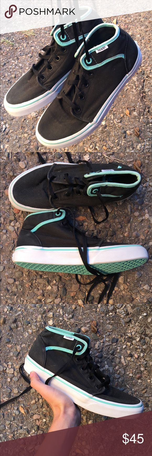 Black & mint vans a pair of black vans with mint added in. they are in excellent condition, worn no more than 5 times. white parts have been washed and bleached. i got these and never wear them so give them a good home. 6 in mens and a 7.5 in women's. Vans Shoes Sneakers