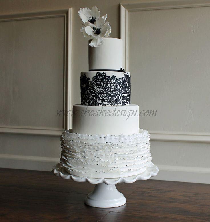 Black And White Wedding Cake Gumpaste anemones